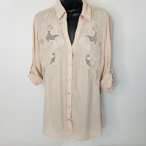 Express Sheer Lace Embroidered Button Down Shirt